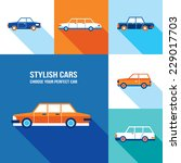 stylish car icon set. modern... | Shutterstock .eps vector #229017703