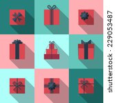 flat gift box icon set with... | Shutterstock .eps vector #229053487