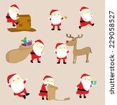 cute little cartoon tiny santa... | Shutterstock .eps vector #229058527