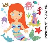 mermaid vector illustration   Shutterstock .eps vector #229064503
