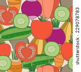 seamless pattern of vegetables  | Shutterstock .eps vector #229078783