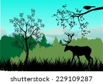 Deers In Forest Silhouette2