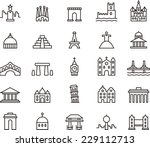 monuments icon set | Shutterstock .eps vector #229112713