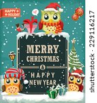 vintage christmas poster design ... | Shutterstock .eps vector #229116217