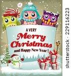 vintage christmas poster design ... | Shutterstock .eps vector #229116223