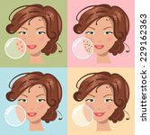 girls with a problem and clean... | Shutterstock .eps vector #229162363