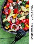 ragout of vegetables baked in... | Shutterstock . vector #229164907