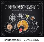 vintage poster. breakfast.... | Shutterstock .eps vector #229186837