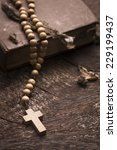 vintage rosary beads on old... | Shutterstock . vector #229199437