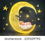 a little newborn baby is... | Shutterstock . vector #229209793