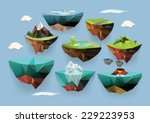 vector low poly islands set for ... | Shutterstock .eps vector #229223953