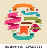 collection of christmas vintage ... | Shutterstock .eps vector #229233313