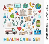 vector medical doddle set on a... | Shutterstock .eps vector #229242517