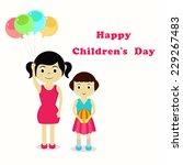 illustration of two girls for... | Shutterstock .eps vector #229267483