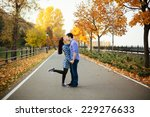 romantic couple kissing in... | Shutterstock . vector #229276633