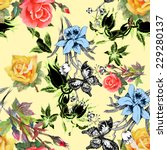 beautiful watercolor flowers... | Shutterstock .eps vector #229280137