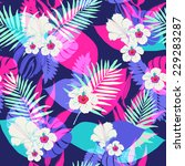seamless tropical jungle floral ... | Shutterstock .eps vector #229283287