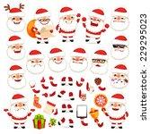 set of cartoon santa claus for... | Shutterstock .eps vector #229295023