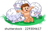 child and sheep | Shutterstock .eps vector #229304617
