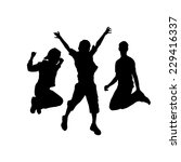 silhouette of jumping people.... | Shutterstock .eps vector #229416337