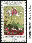 Small photo of CZECHOSLOVAKIA - CIRCA 1968: post stamp printed in Czech (Ceskoslovensko) shows illustration of Slovak fairy tale ruling knight by Ludovit Fulla; couple on white horse; Scott 1596 A595 80h, circa 1968