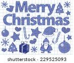 merry christmas on paper | Shutterstock .eps vector #229525093