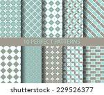 10 cute blue geometric seamless ...   Shutterstock .eps vector #229526377