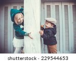 brother and sister outdoors in... | Shutterstock . vector #229544653