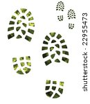 Camouflage And Green Boot Prints