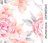 watercolor seamless roses... | Shutterstock .eps vector #229585363