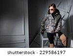 fashion model in fashion dress... | Shutterstock . vector #229586197
