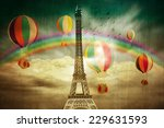 colourful paris background | Shutterstock . vector #229631593
