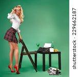 secretary in a short skirt and ... | Shutterstock . vector #229662187