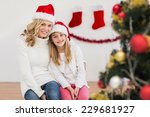festive mother and daughter... | Shutterstock . vector #229681927