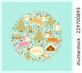 raster new year's card with... | Shutterstock . vector #229700893