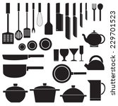 flat kitchen table for cooking... | Shutterstock .eps vector #229701523