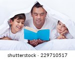 father reading a story to his... | Shutterstock . vector #229710517