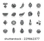 fruit and vegetable icons | Shutterstock .eps vector #229862377