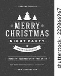 christmas night party poster or ... | Shutterstock .eps vector #229866967
