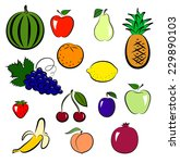set of colorful fruits isolated ... | Shutterstock . vector #229890103