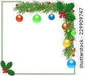 Christmas Card With Fir Frame...