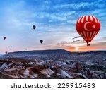 turkey hot air balloon flying... | Shutterstock . vector #229915483