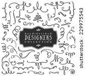 Decorative curls and swirls. Designers collection. Hand drawn illustration. Design elements.