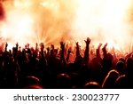 silhouettes of concert crowd in ... | Shutterstock . vector #230023777