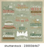 vintage merry christmas labels | Shutterstock .eps vector #230036467