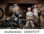 two boys standing at the... | Shutterstock . vector #230037277