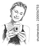 sketch of woman taking photo... | Shutterstock .eps vector #230056753