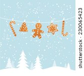 hanging ginger breads in snowy... | Shutterstock .eps vector #230065423