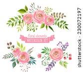 vector flowers set. colorful... | Shutterstock .eps vector #230072197
