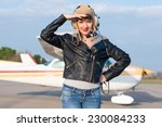 portrait of young pilot against ... | Shutterstock . vector #230084233
